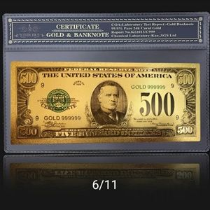 Other - 1924 24k gold 500 dollar certificate note